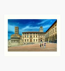 Arezzo - Piazza Grande and Santa Maria della Pieve Church Art Print