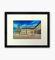 Arezzo - Piazza Grande and Santa Maria della Pieve Church Framed Print