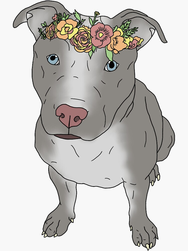 grey pit bull with flower crown by andilynnf