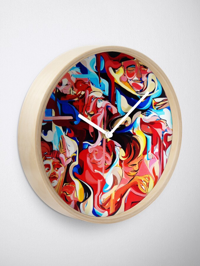 Alternate view of Expressive Abstract People Composition painting Clock