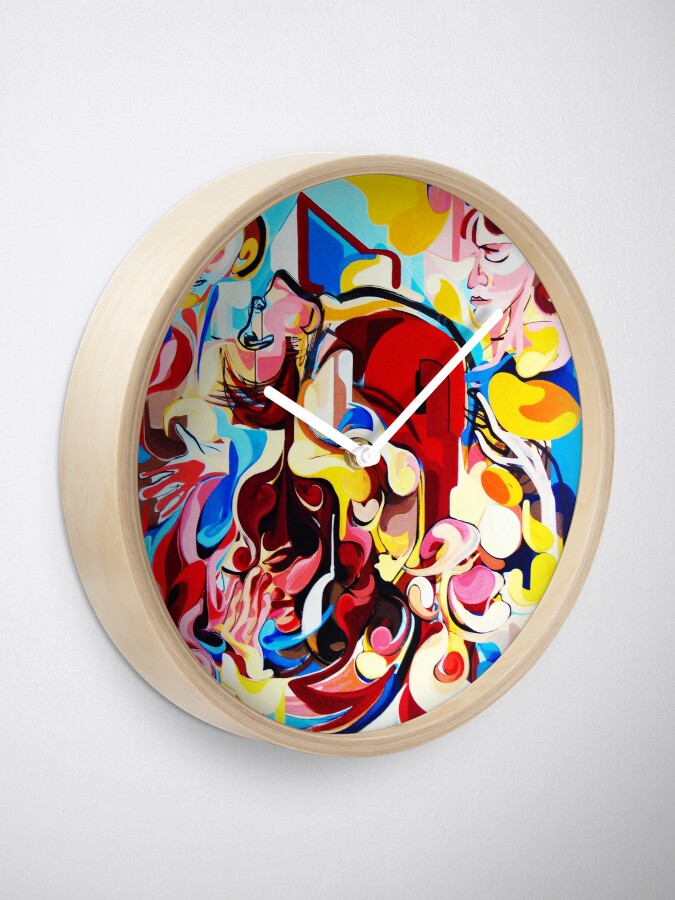Alternate view of Expressive Abstract People Music Composition painting Clock