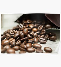 Spilled Coffee Beans Poster