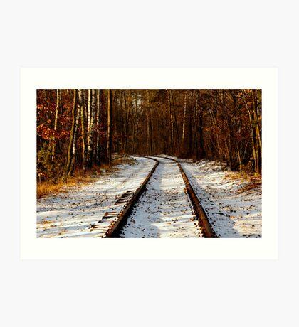 Forsaken old railway track Art Print