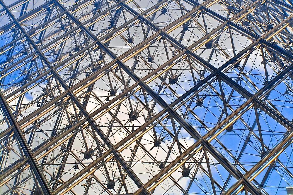 Metal and Clouds, Louvre, Paris by Steve Rhodes