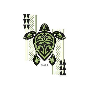 Black & Green Tribal Turtle Tattoo Warrior / Maui by srwdesign