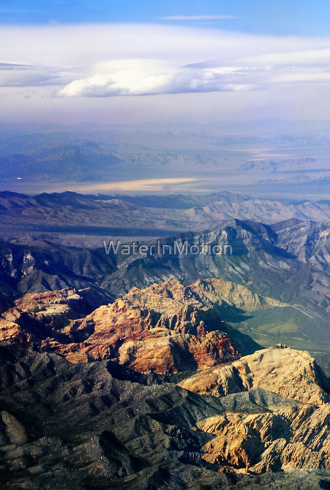 Aerial View California-Nevada Border by WaterInMotion
