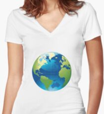 Cartography Chromatic Continents  Women's Fitted V-Neck T-Shirt