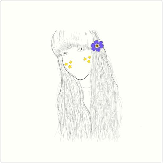 Tumblr Flower Star Mädchen Zeichnung Kunstdrucke Von Goodvibeonline