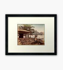 Haruna Lake tea house Framed Print