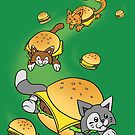 Cat Cheeseburger Train by jellysoupstudio