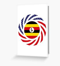 Ugandan American Multinational Patriot Flag Series Greeting Card