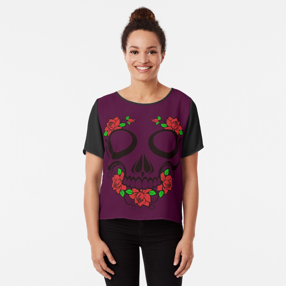 Skull and roses Women's Chiffon Top Front