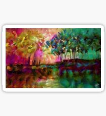 Candy forest, Lea Roche paintings - Forest, wood, undergrowth, forest green Sticker