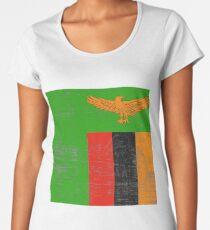 Verkratzt Republik Sambia Flagge Premium Rundhals-Shirt