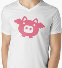 Fliegende rosa Schwein T-Shirt mit V-Ausschnitt