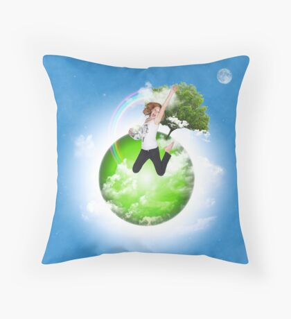 She's got the whole world... Throw Pillow