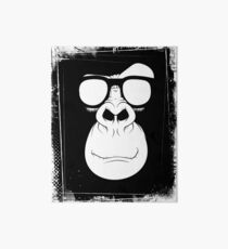 Hipster Monkey with Glasses Black and White Art Board