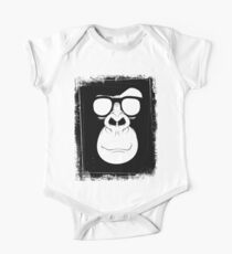 Hipster Monkey with Glasses Black and White One Piece - Short Sleeve