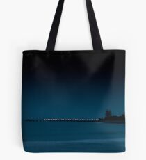 Fog and darkness descend on the Lorne Pier Tote Bag