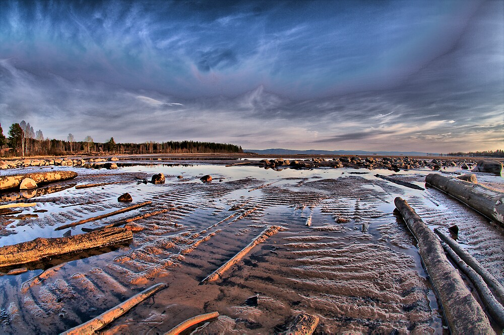 Low water sunset by bennystoors