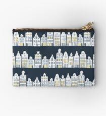 Amsterdam houses on navy blue Studio Pouch