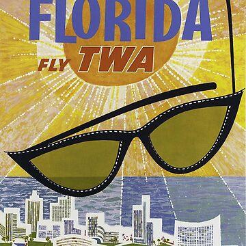 Florida Fly TWA Vintage Travel Poster  by Framerkat