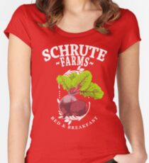 Schrute Farms Bed & Breakfast The Office Beets Women's Fitted Scoop T-Shirt