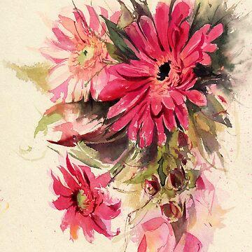 Watercolor flowers. Gerberas by lamarmarina