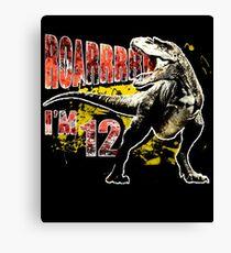 12th Birthday 12 Year Old Dinosaurs Gift Birthday Canvas Print