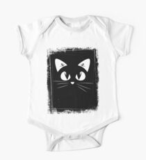 Black Cat White Eyes Miaow One Piece - Short Sleeve
