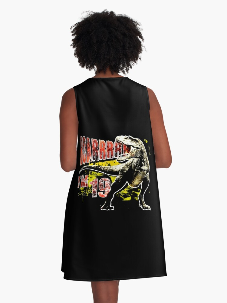 e3fe162bf633 Alternate view of 19th Birthday 19 Year Old Dinosaurs Gift Birthday A-Line  Dress