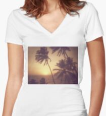Sand, Beach, Sunset Women's Fitted V-Neck T-Shirt