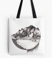 Idyllic Mountain Ink Drawing Tote Bag