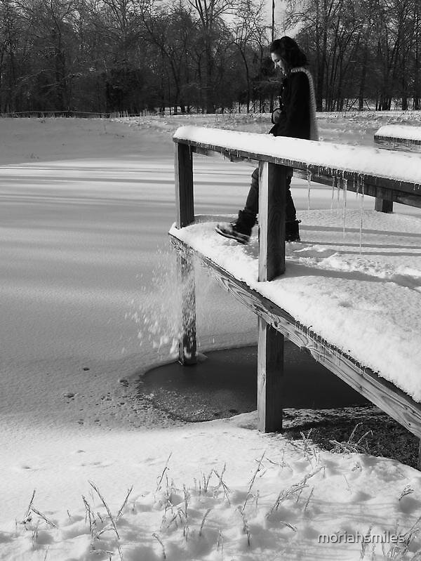 Brushes Snow Off the Dock by moriahsmiles