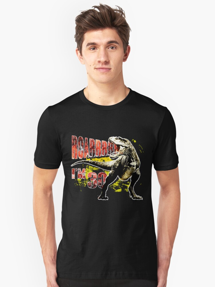 30th Birthday Gift 30 Year Old Dinosaurs Present Slim Fit T Shirt