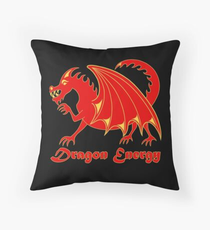 Dragon Energy Red And Gold Cartoon Animal Throw Pillow