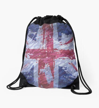 Rustic Union Jack Flag Drawstring Bag