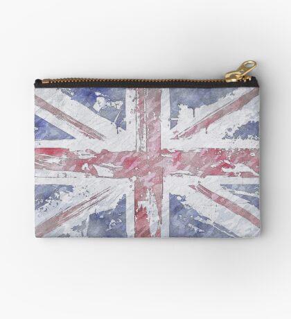 Rustic Union Jack Flag Zipper Pouch