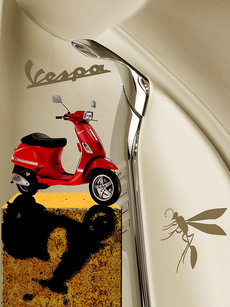 Red Vespa  Leather  Plus Wasp by RoydonJohnson