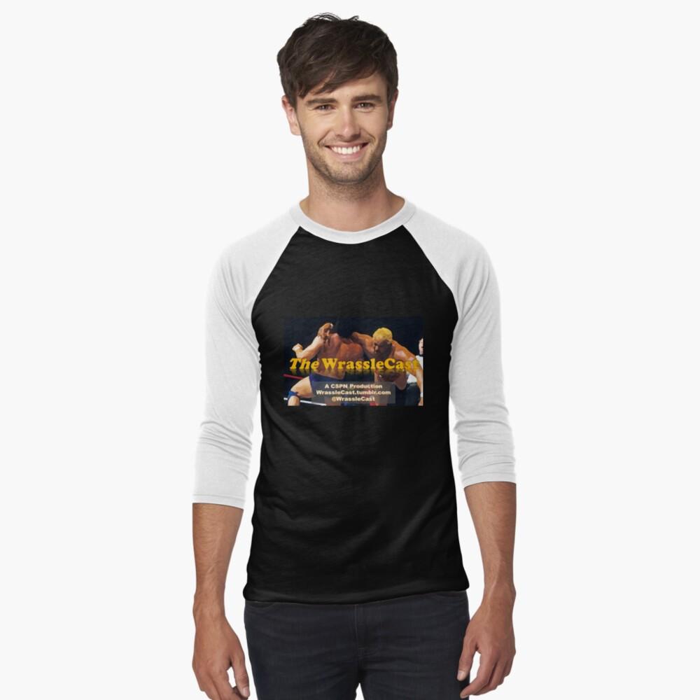 The WrassleCast logo Men's Baseball ¾ T-Shirt Front