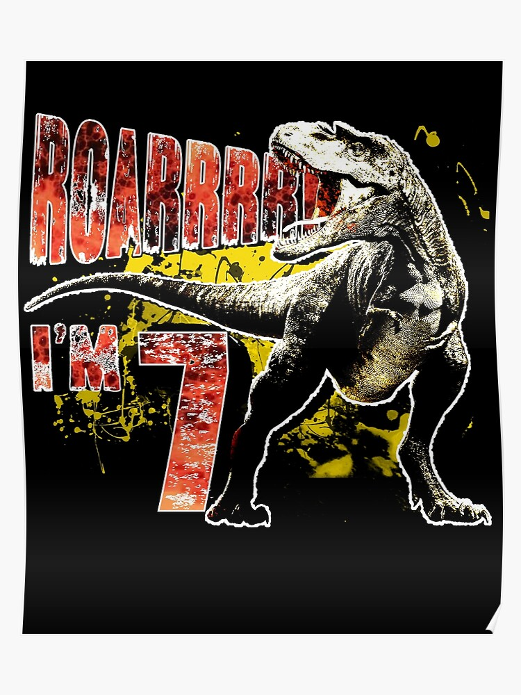 7th Birthday Gift 7 Year Old Dinosaurs Present Poster