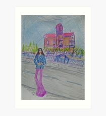 Fashion Illustration: Girl Standing Next to a House Art Print