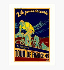 TOUR DE FRANCE; Vintage Bicycle Race Advertisment Art Print