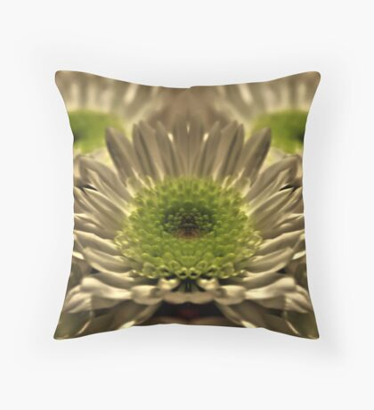 White And Green Flower Throw Pillow
