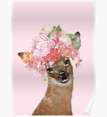 Baby Deer with Flower Crown in Pink Poster