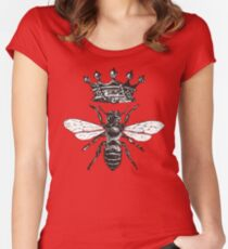 Queen Bee | Black and White Women's Fitted Scoop T-Shirt