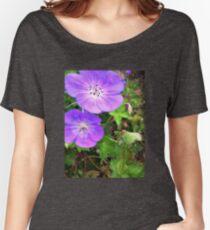 PURPLE SUMMER FLOWERS Women's Relaxed Fit T-Shirt