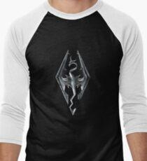 Skyrim Logo - Iron Embossed in Granite Men's Baseball ¾ T-Shirt