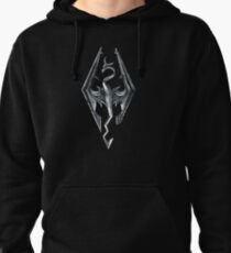 Skyrim Logo - Iron Embossed in Granite Pullover Hoodie