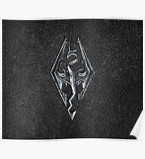 Skyrim Logo - Iron Embossed in Granite Poster